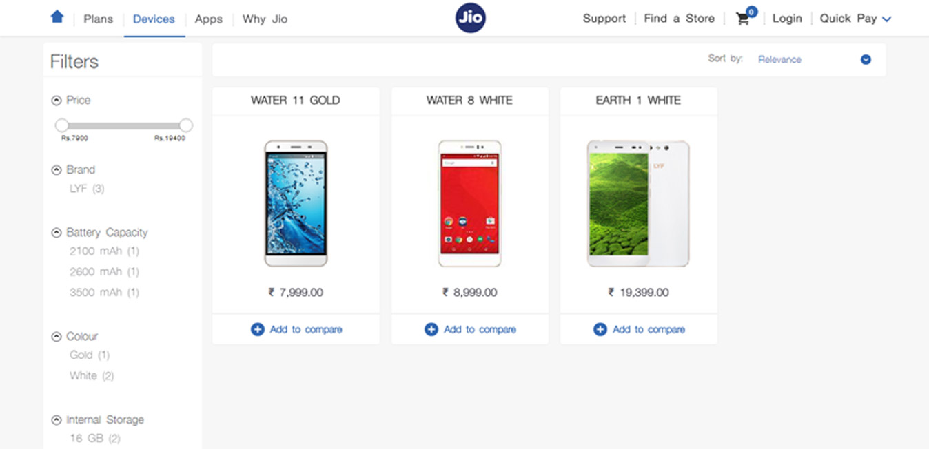Reliance Jio launched online store for smartphones and