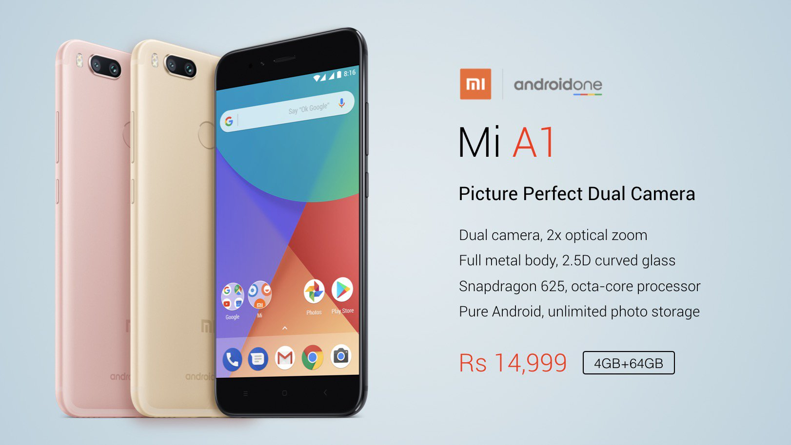 Xiaomi Mi A1 Smartphone Launched Powered By Android One Project