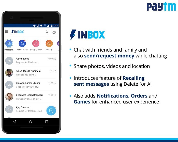 Paytm introduces Inbox which will allow users to chat