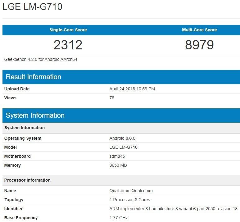 LG G7 ThinQ Appears On Benchmarking Website Reveals Specs