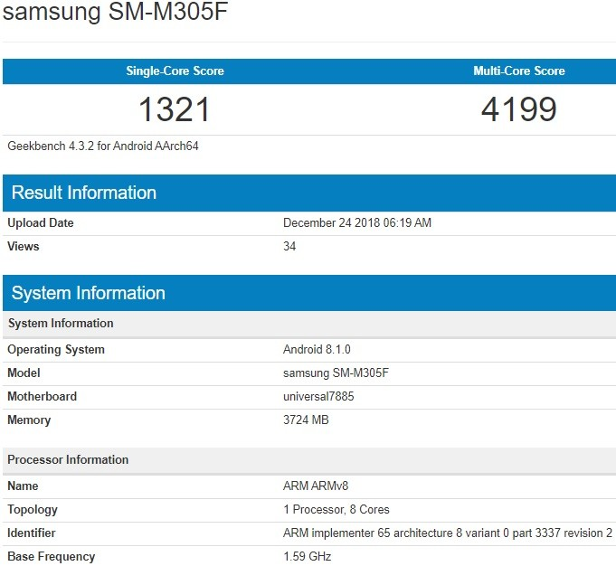 Specification Of Samsung Galaxy M30 Revealed Via Geekbench