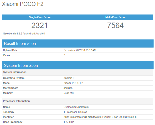 Xiaomi POCO F2 Appears On Benchmarking Site