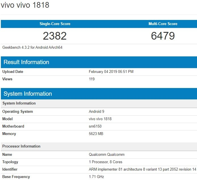 Vivo V15 Pro Appears On Geekbench Reveals Key Specifications