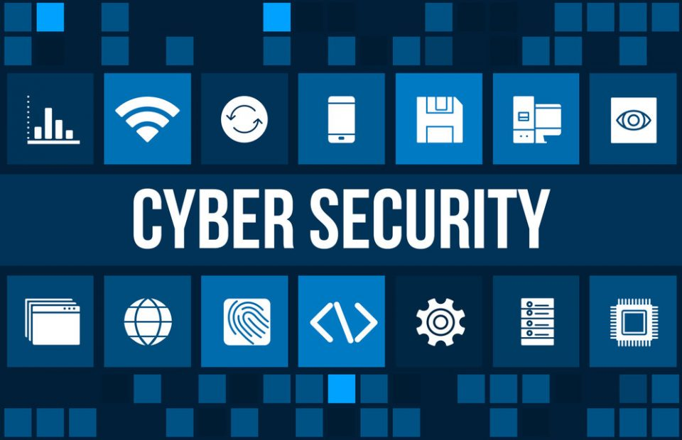 Cyber security concept image with business icons and