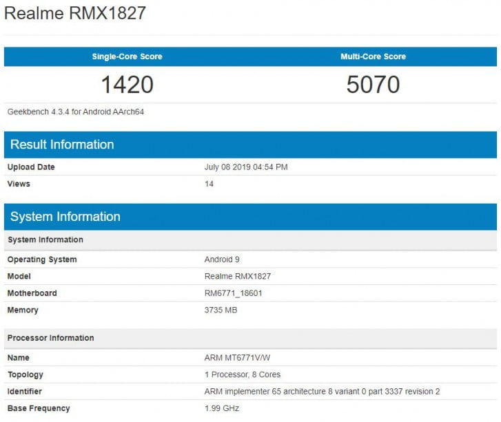 Realme 3i Visits Benchmarking Site Confirms Specifications
