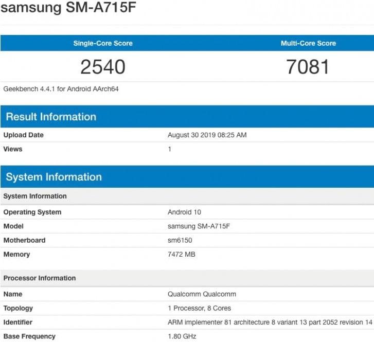 Samsung Galaxy A71 Visits Geekbench