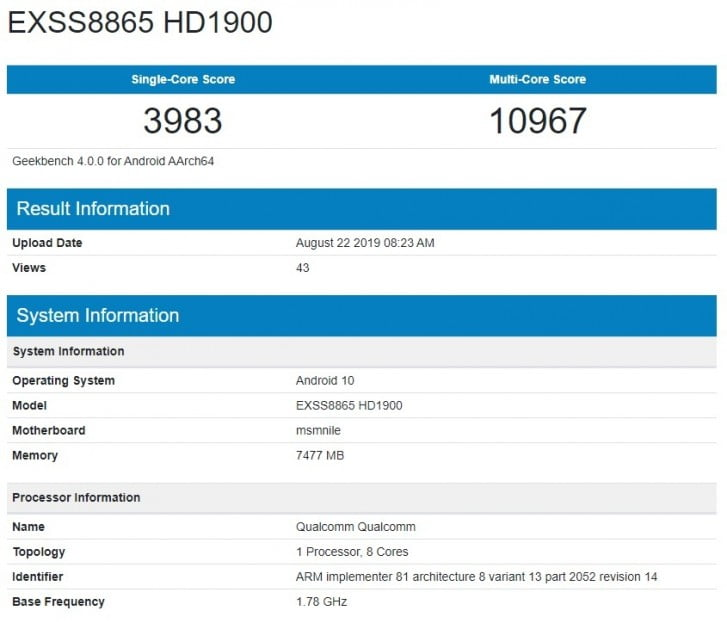 OnePlus 7T Visits Geekbench