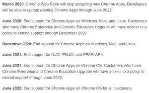 Chrome app ending timeline