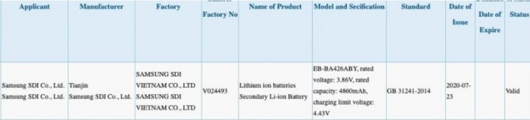 A leaked image of the Chinese 3C 3C Certification site suggest that the Samsung Galaxy A41 is coming with a big 5,000 mAh battery capacity.